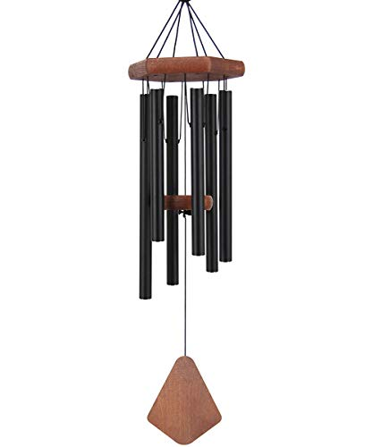 "Medium Amazing Grace Wind Chime Outdoor, 28""Sympathy Wind Chime with 6 Black-Colored Aluminum Metal Hollow Tubes Tuned Soothing Musical Bell Sounds, Metal Wind Chimes for Home, Party, Garden Décor"