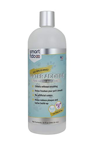Smart Fido Water Additive for Cats & Dogs, 32 oz - Oral Care for Plaque & Tartar Build-Up, No Brushing, Refreshing Peppermint Oil Flavor, Manufactured in The USA