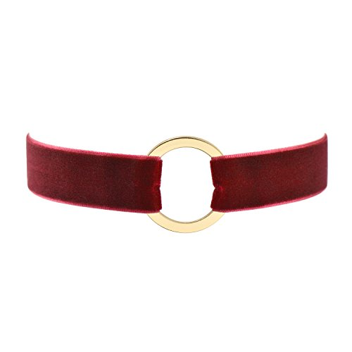 - Wine Red Velvet Belt Gothic Choker Necklace 12-15 Inches, Yellow Ring Shape