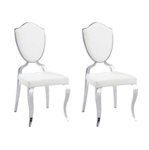(Milan LETICIA-SC-WHT Leticia Heart Back Cabriole Designed Side Chairs, Set of)