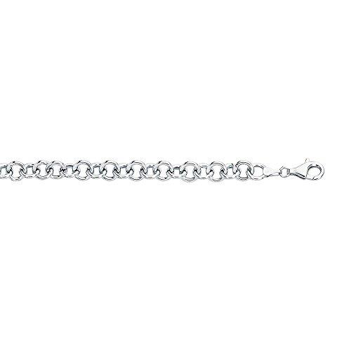 """18,4 """"- Or blanc 14 carats à coupe diamant Double Link-Bracelet à charms-Fermoir en forme de poire"""