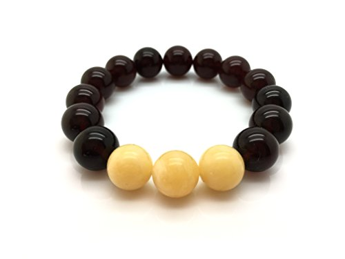 (Natural Baltic Amber Bracelet Cherry Colour with Yellow-White Beads 14,2g 12± mm Size.)
