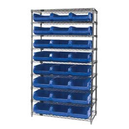 Quantum Storage Systems WR9-531GN 9-Tier Complete Wire Shelving System with 24 QMS531 Green Magnum Bins, Chrome Finish, 18
