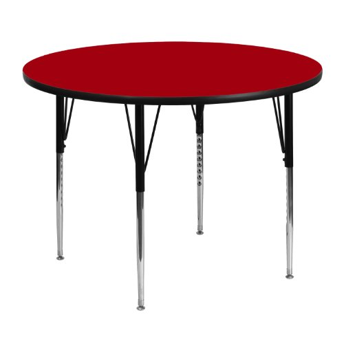 - 48'' Round Activity Table with Red Thermal Fused Laminate Top and Standard Height Adjustable Legs [XU-A48-RND-RED-T-A-GG]