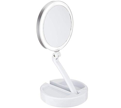 Floxite 10X/1X Lighted Magnification Mirror w/Built in Storage White