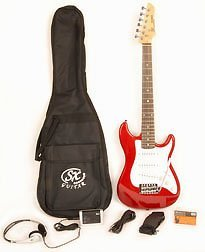 Electric Guitar Package 1/2 Size w/Pocket Amp, Strap, Cord & On Line Video Lessons SX RST 1/2 CAR Short Scale Red Package ()