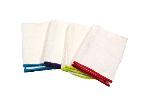Kitchen Basics 72001R Microfiber Ribbed Colored Border Dish Towel, 15