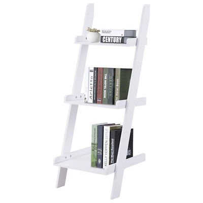 3 Tier Leaning Wall Ladder Book Shelf Bookcase Storage Rack Display Furniture Organizer by Allblessings