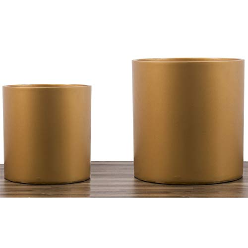 8 Inches 10 Inches Plant Pot - Set of Two Fiberglass Resin Modern Planter/Plants Pot - Bronze - Easy Grow with Drainage Hole and Plug - by D'vine ()