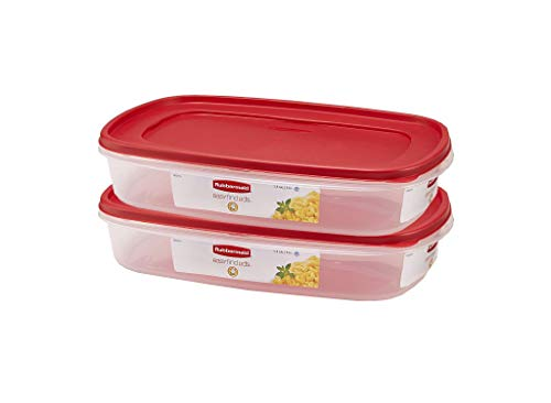 Rubbermaid 669900233019 Easy Find Lid Square 1.5-Gallon Food Storage Container, Red 2-Pack, 24 Cup, Clear from Rubbermaid