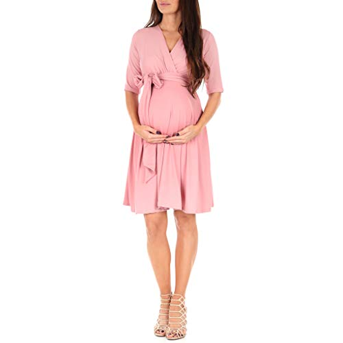 Women's Knee Length Wrap Dress with Belt - Made in USA Mauve