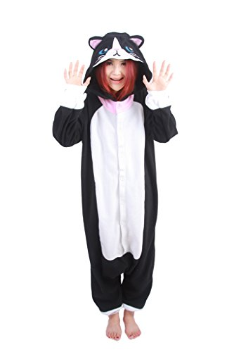 Forever Lazy Black Cat Costume Onesie - M -