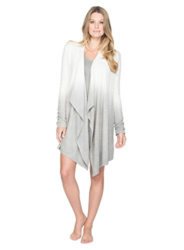 Barefoot Dreams Bamboo Chic Calypso Knit Cardigan Wrap, S/M, Pearl / Pewter
