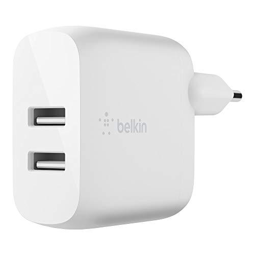 Belkin cargador de pared doble USB-A BoostCharge de 24 W, para iPhone 12, 12 Pro, 12 Pro Max, 12 mini y modelos anteriores, Samsung S20, S20+, S20 Ultra, Pixel 4 y otros