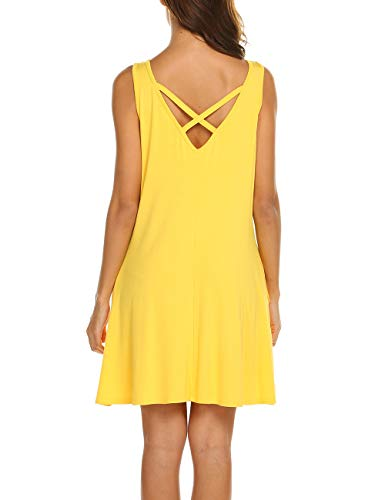 Womens Summer Casual Loose Simple Beach Tank Dress with Pockets Yellow XL