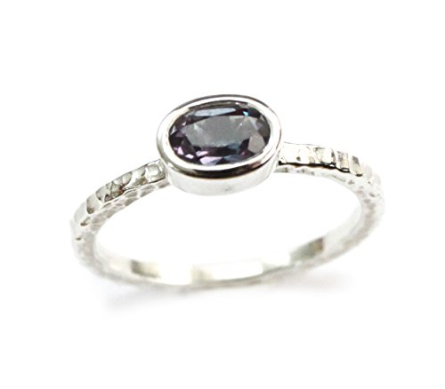 ZilverPassion Oval Lab Created Alexandrite Sterling Silver Hammered Stackable Band Ring, June Birthstone Size 3-15