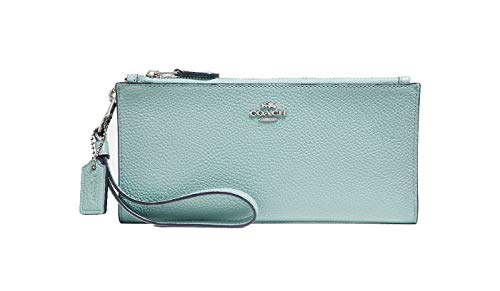 - Coach Double Zipper Zip Wallet Light Turquoise Blue Leather Bag Handbag New