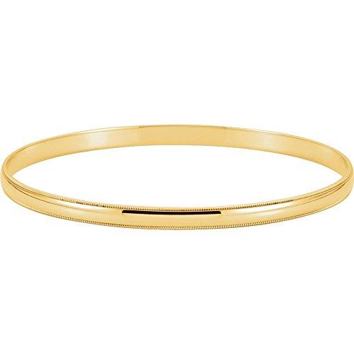 14k Yellow Gold 4mm Milgrain Edge Bangle Bracelet