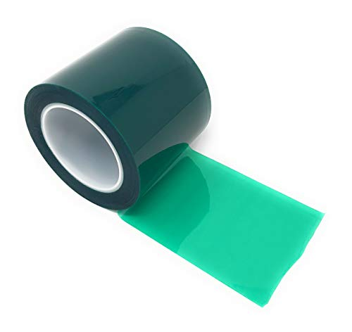 APT, (4'' X 72 Yds, Green), 2 Mil Polyester Tape with Silicone Adhesive, PET, Mylar Tape, high Temperature Tape, 3.5 mil Thickness, Powder Coating, E-Coating, Anodizing, high Temp Masking (4 inch) ()