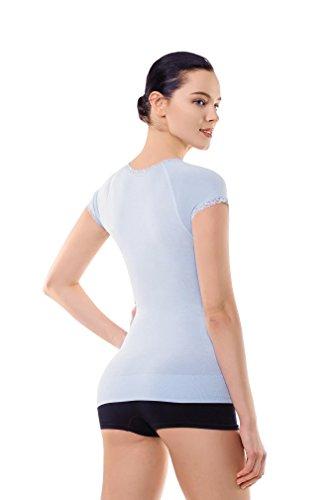 Camisa de compresíon apoyo elspalda adelgazante atlético para mujeres de MD camisa para Panza y Pecho Azul Claro