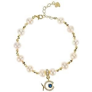 Aurora Women's Silver Gold Pearl Bracelet