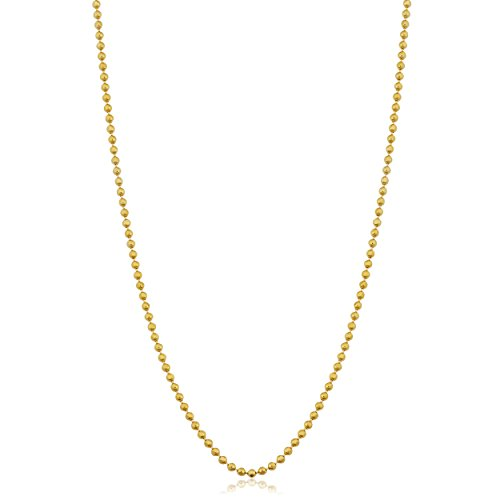 14K Yellow Gold 1mm Diamond-Cut Bead Ball Chain Necklace (16 (Diamond Cut Bead Chain)