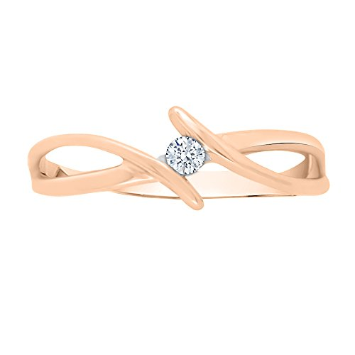 KATARINA Diamond Solitaire Promise Ring in 14K Rose Gold (1/20 cttw, G-H, I2-I3) (Size-4.75) ()