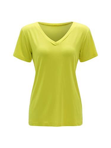 - Floerns Women's V Neck Short Sleeve Casual T-Shirt Neon Green L