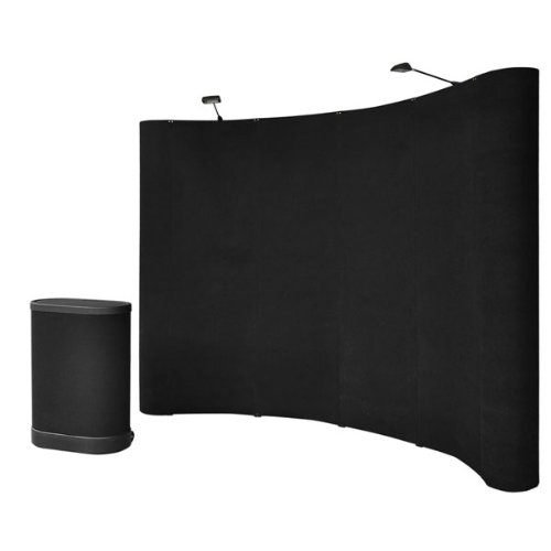 10'x8' Black Professional High Quality Portable Easy Assembly Pop Up Trade Show Display Booth w/ Counter by ShopOC