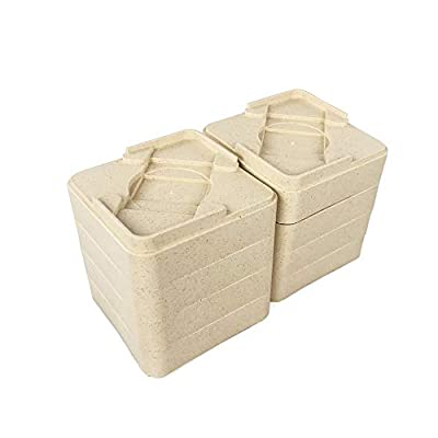 MIIX HOME Bed Risers Bamboo Fiber Quality, Furniture Risers, Lifts Bed Frame, Create Under Bed Storage Dorm, Set of 8 Pieces, Add 1-2 inches (Color Beige)