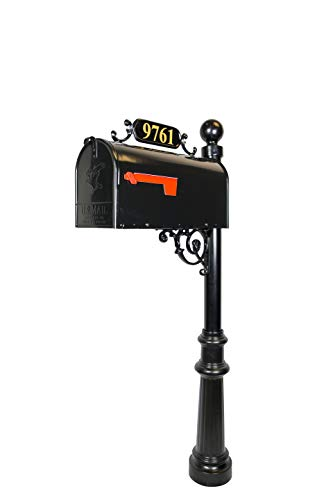 Addresses of Distinction Avenues Large Mailbox & Post - Black Rust Resistant Metal Mailbox System - Includes Address Plaque, Scroll & Mounting Hardware - Powder Coated Aluminum Base with Ball Finial (Metal Cast Finial)