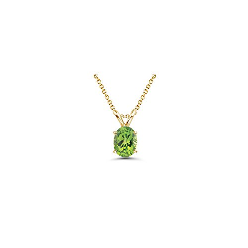 - 1.14-1.63 Cts Peridot Solitaire Pendant in 14K Yellow Gold
