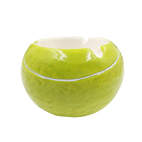 Wujee Creative Portable Ceramic Ashtray - Smoking Ash Tray - Lovely Spherical Style Home Office Decor (Tennis Ball)