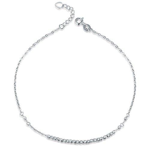 MaBelle 14K White Gold Tiny Running Beads Chain Anklet (9.25