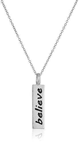 Sterling Rectangle Believe Pendant Necklace