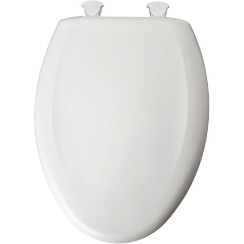 Bemis 1200SLOWT 000 Plastic Toilet Seat featuring WhisperClose and EasyClean & Change Hinges, Elongated, White by Bemis