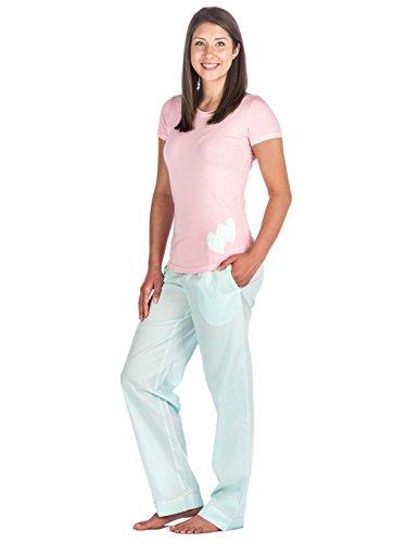 Noble Mount Homewear Pijama de 100% Poplín Algodón para Mujer Rayado Azul Mar/Rosa
