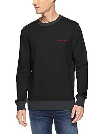 Calvin Klein Men's Pop Color Logo Crew Sweat, Black(Black), Small