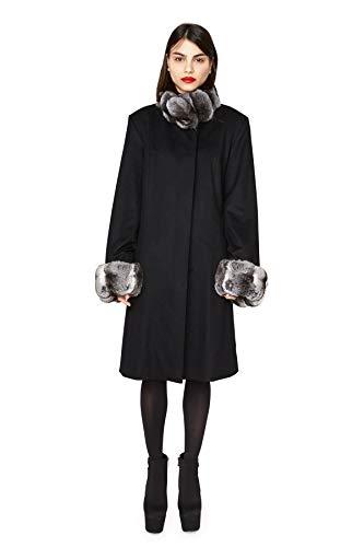 "534 Black Loro Piana 100% Cashmere Natural Chinchilla Collar and Cuffs 38"" Slightly Swing Coat ()"