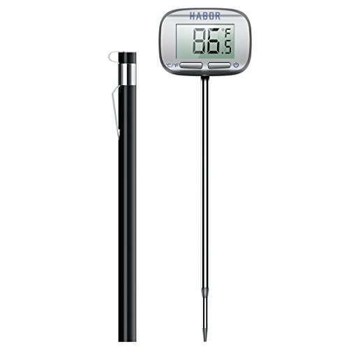 Habor Digital Meat Thermometer, Candy Thermometers 5S Instant Read Thermometer with Large LCD for Kitchen BBQ Grill Smoker