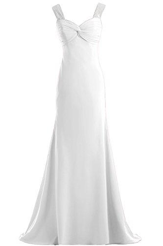 Toscana novia señoras dos-Traeger gasa por la noche vestido de fiesta largo vestidos de bola de ropa blanco