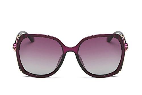 SZLINGKE Brand Designer Polarized Women Square Frame Sunglasses Ladies Fashion Big PC Fox Diamond Frame Lady Sunglasses Woman Classical Retro Driving Ladies EyeGlasses UV400 (Purple & - Best Frames Square Face Eyeglass For