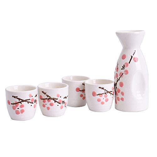 Japanese Red Plum Sake Set,1 Sake Pot and 4 Sake Cups