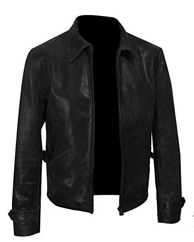 Black Leather Jacket Men - Classic Vintage Slim Fit Motorcycle Biker Jacket