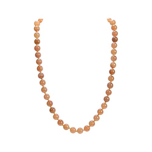 Malahill Natural Gemstone Necklace, Hand Knotted Birthstone Necklace, 18 inches Long (Orange Aventurine ()