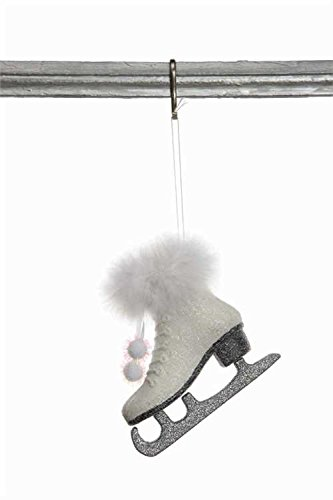 White Ice Skate Ornament Glitter