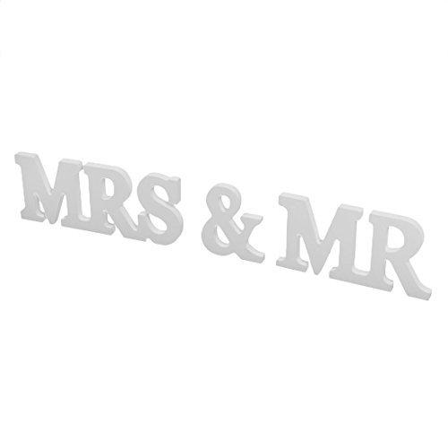 DealMux madeira casamento aniversrio Mr & Mrs Shaped Ingls alfabeto da letra Decorao 3 em 1 White