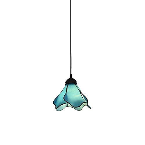 (HZC Mediterranean Style Pendant Lamp Tiffany Style Glass lampshade Vintage Antique Hanging lamp Retro Chandelier Lighting (Blue))