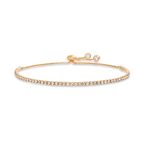 MIA SARINE 2mm Round Crystal Adjustable Bolo Slider Tennis Bracelet for Women in Rose Gold Plated 925 Sterling Silver made with Swarovski Crystals (Rose) ()