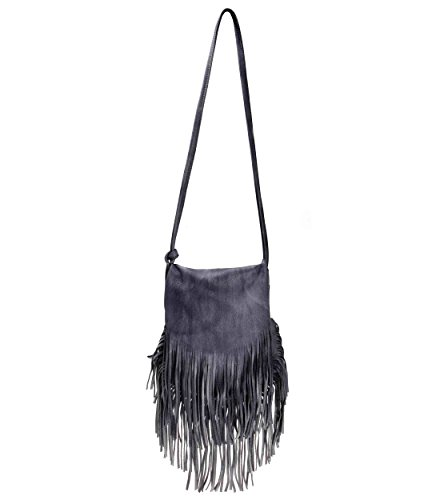 ZLYC Women Bohemian Dip Dye Leather Fringe Bag Pouch Tribal Tassel Cross Body Bag Purse, Gray